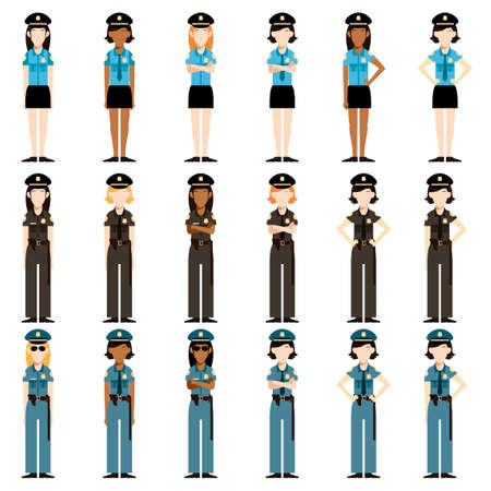 Vector image of the Set of police women