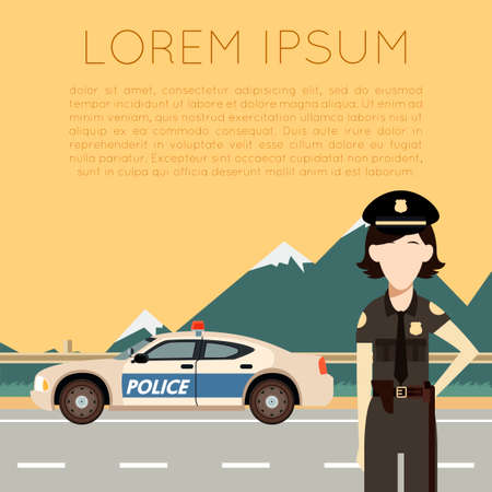 Vector image of the Police on the road banner with police woman