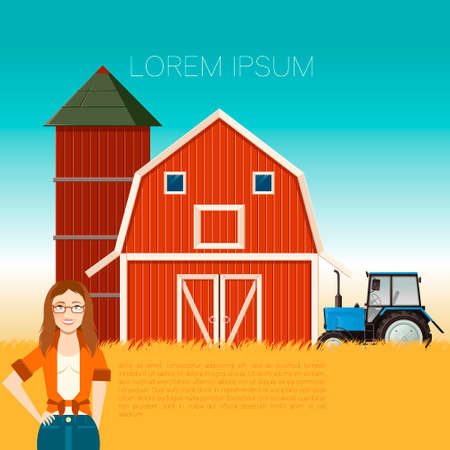 lady cow: Vector image of the Farm banner and a woman