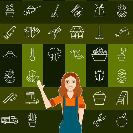 mustard seed: Vector image of the Set of vegetable line icons and a gardener woman Illustration