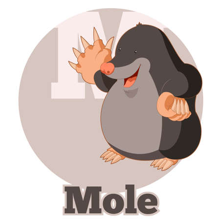 pronunciation in letters: Vector image of the ABC Cartoon Mole