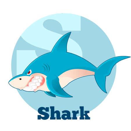 children s art: Vector image of the ABC Cartoon Shark Illustration