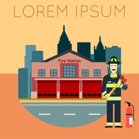 public servants: Vector image of the Fire Station Banner Illustration