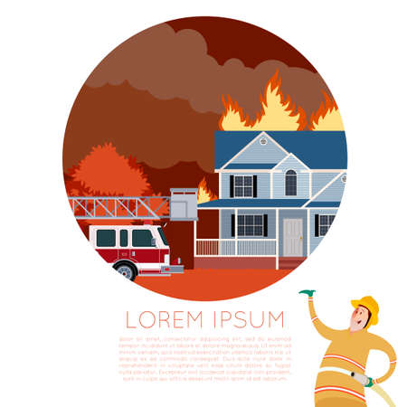 fire danger: Vector imageof the Fire in the house  and  an Fireman Illustration