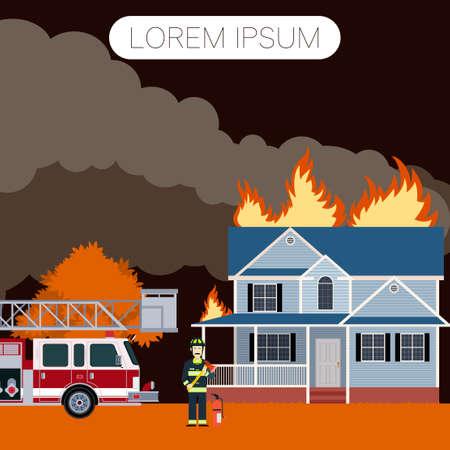incendio casa: Vector imageof el fuego en la casa y un bombero Vectores