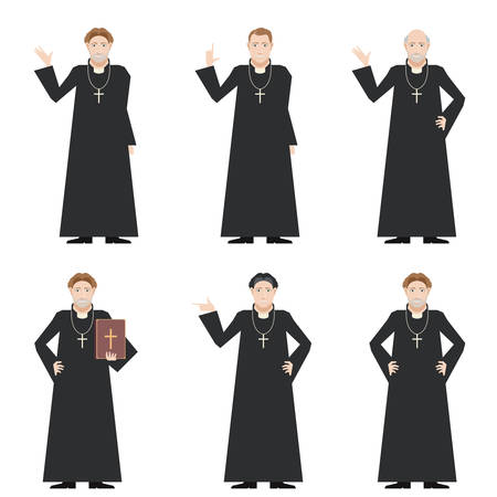 clergyman: Vector image of the set of Catholic priests Illustration