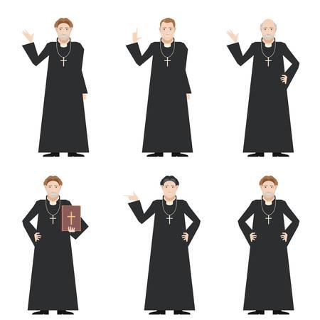 Vector immagine del set di preti cattolici
