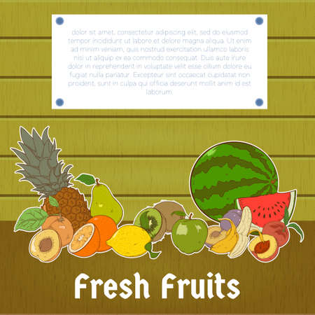 summer diet: Summer healthy diet organically grown fruits colorful banner abstract isolated vector illustration Illustration