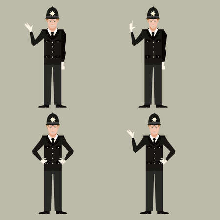 bobby: Vector image of the set of British Policemen