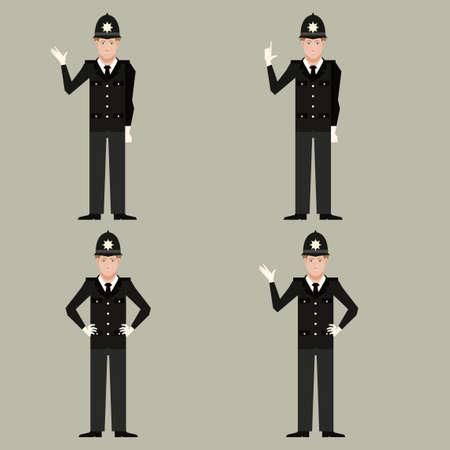 Vector immagine del set di Poliziotti britannici Vettoriali
