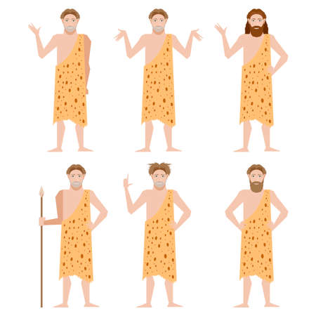 masculinity: Vector image of the Set of Cavemen