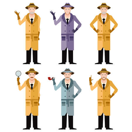 sleuth: Vector image of the set of detectives Illustration