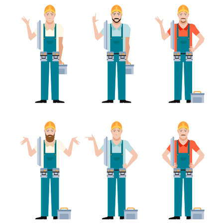 Vector image of the Set of Electricians