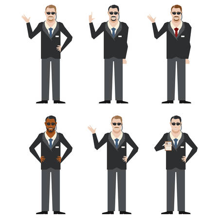 the fbi: Vector image of the set of FBI Agents Illustration