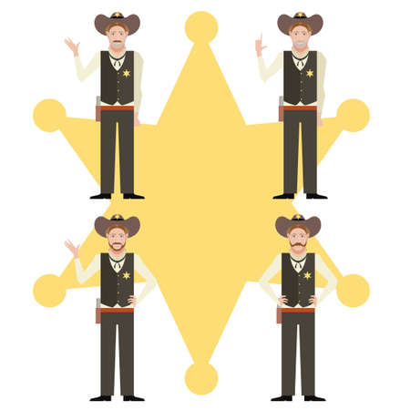 sheriffs: Vector image of the set of sheriffs Illustration