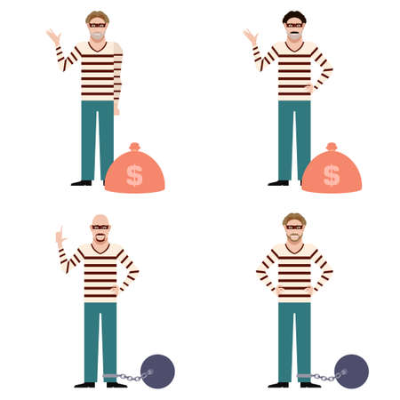 looting: Vector image of the set of flat icons of thieves Illustration