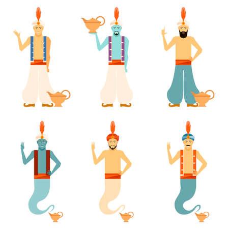 jinn: Vector image of the set of Genies Illustration