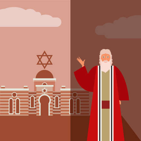 seder: Vector image of the moses Jew Banner