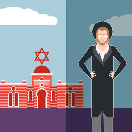 tefillin: Vector image of the jew jewdaism banner