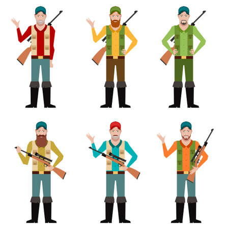 hunters: Vector image of the set of hunters