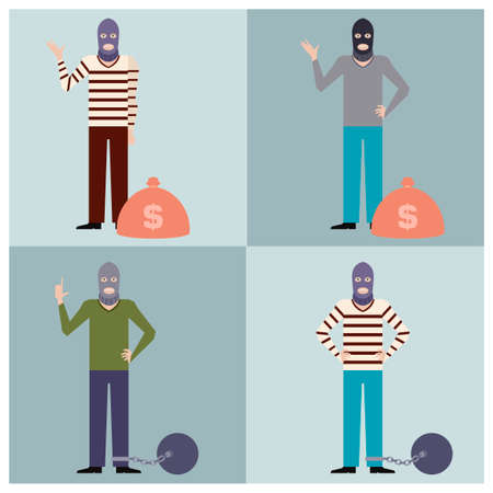 thieves: Vector image of the set of flat icons of thieves Illustration