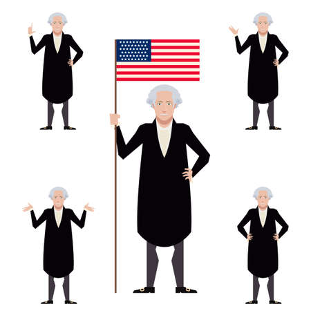Vector image of the set of flat icons of Washington George