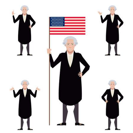 george washington: Vector image of the set of flat icons of Washington George