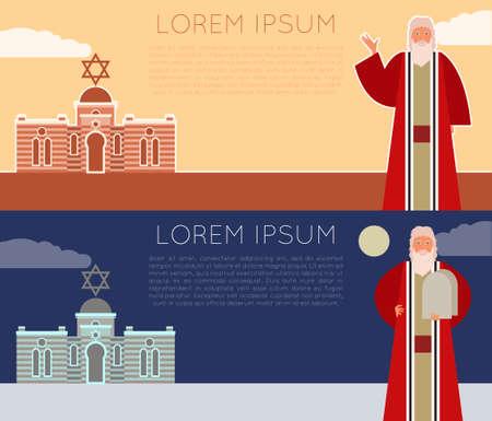 ten commandments: Vector image of the moses Jew Banner