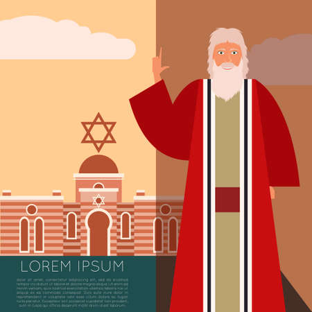 pesah: Vector image of the moses Jew Banner