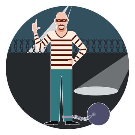 imprisonment: Vector image of the thief in the prison