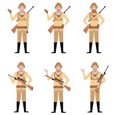 animation teenagers: Vector image of the Set of Safari Hunters