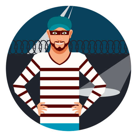 detained: Vector image of the thief in the prison