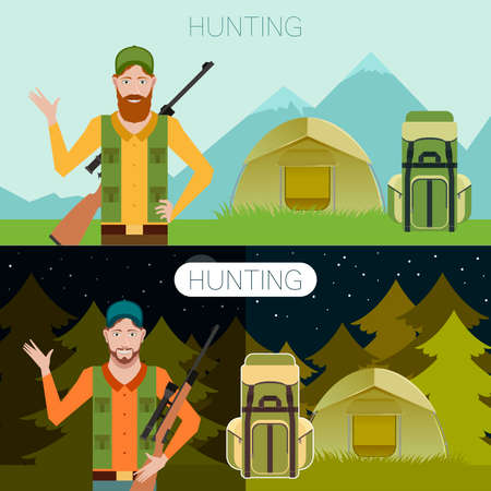 murder scene: Vector image of the hunter in the trip banner Illustration