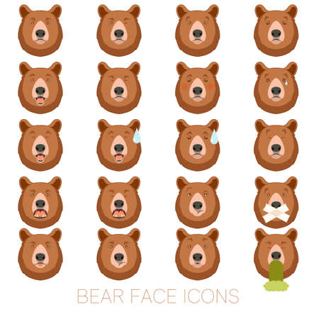 angry teddy: Vector image of the Set of bear face icons