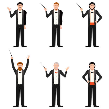 conductors: Vector image of the set of conductors flat icons