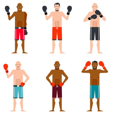Vector image of the set of Boxers Illustration