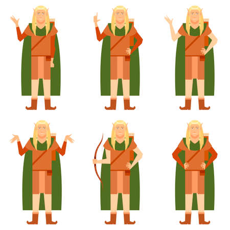 Vector image of the Set of Fantasy elves