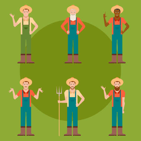 Vector image of the set of flat farmers Illustration