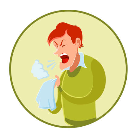 handkerchief: Vector image of the sneezing man and a handkerchief Illustration