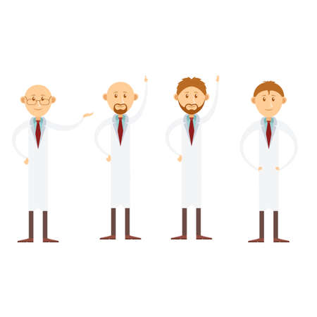 medicate: Vector image of the set of cartoon doctors Illustration