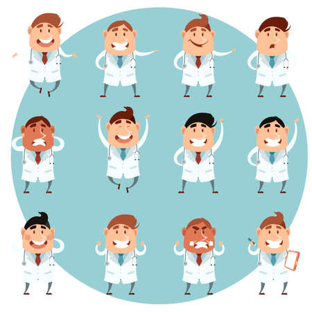Vector image of the set of cartoon doctors Illustration