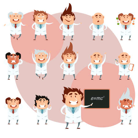 mathematician: Vector image of the set of cartoon scientists Illustration