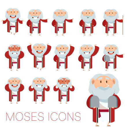 slavery: Vector image of the set of Moses icons