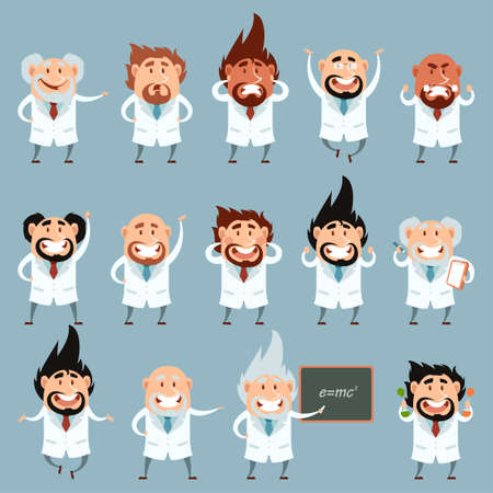 Vector image of the set of cartoon scientists Illustration