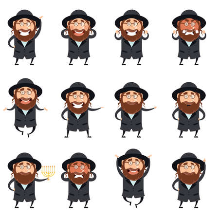 jews: Vector image of the set of flet icons of jews