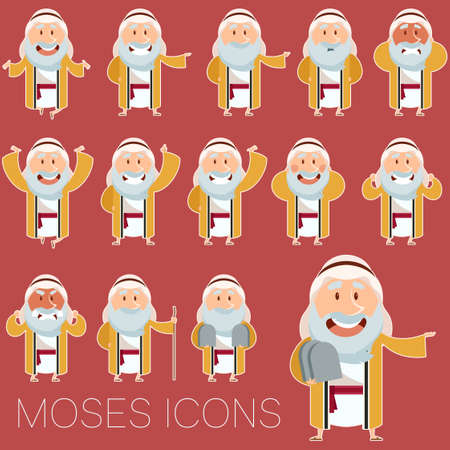 ten commandments: Vector image of the set of Moses icons