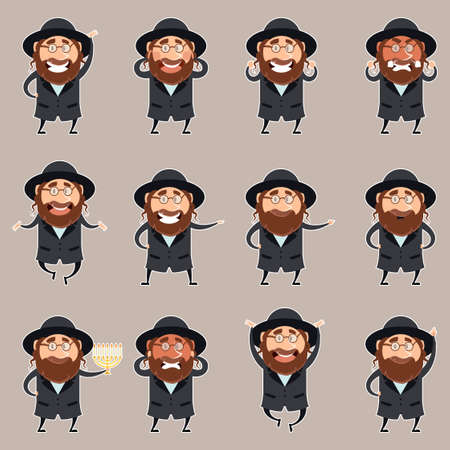 hasidic: Vector image of the set of flet icons of jews