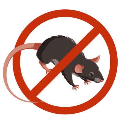 쥐 또는 마우스 경고 벡터 표지판입니다. 격리 된 쥐 편집 가능한 빨간색 원 벡터 설정 아래.