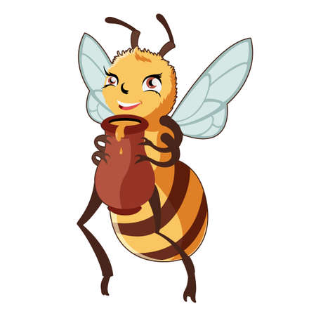 pollinate: Vector image of the Cartoon Bee and Honey Illustration