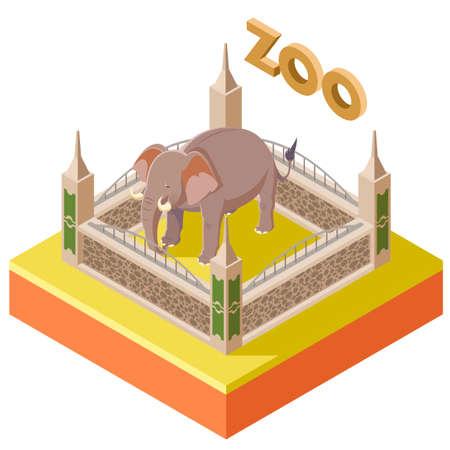 Vector image of the Zoo Elephant isometric icon2 Illustration